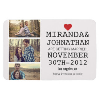 Cream Red Photo Strip Save The Date Magnet