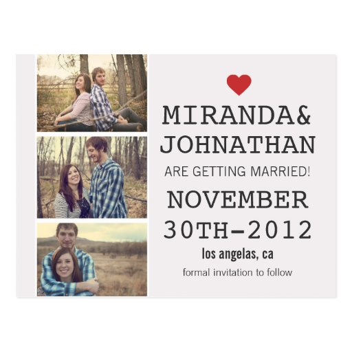 Cream & Red Photo Strip Save The Date Post Cards