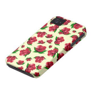 Cream & Red Rose Pattern iPhone 4 Case-Mate Cases