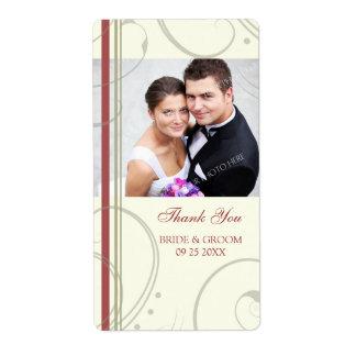 Cream Red Swirls Photo Wedding Labels