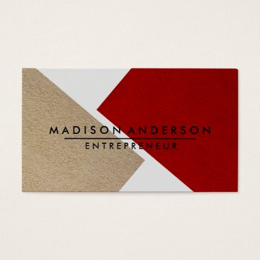 Professional Business Cream Red & White Modern Finance Consultant Business Card