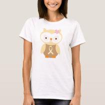 Cream Ribbon Owl Awareness T-Shirt
