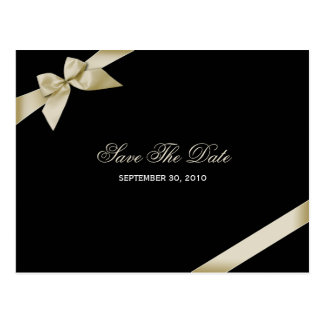 Cream Ribbon Save the Date Announcement Postcard