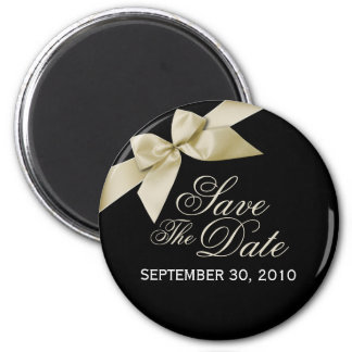 Cream Ribbon Save The Date Wedding Announce 2 Inch Round Magnet