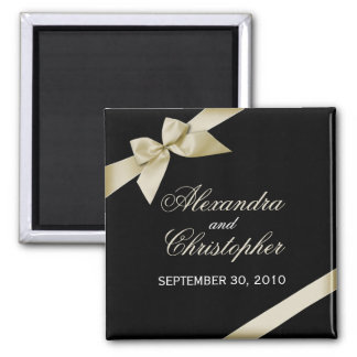 Cream Ribbon Save The Date Wedding Announce 2 Inch Square Magnet