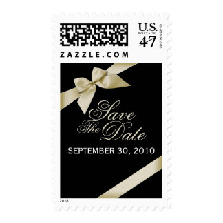 Cream Ribbon Save The Date Wedding Announce Postage