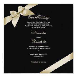 Cream Ribbon Wedding Announcement 2