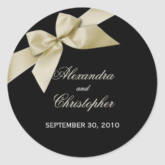 Cream Ribbon Wedding Invitation Announcement Classic Round Sticker