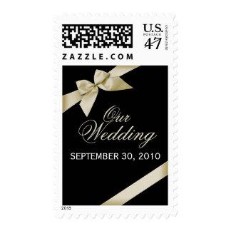 Cream Ribbon Wedding Invitation Announcement Postage