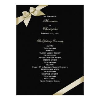 Cream Ribbon Wedding Program Announcements