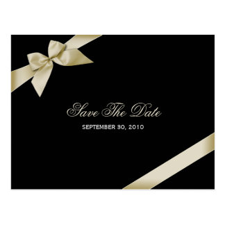 Cream Ribbon Wedding Save the Date 2 Postcard