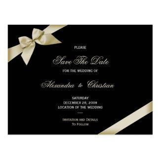 Cream Ribbon Wedding Save the Date 4 Postcard