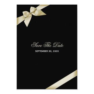Cream Ribbon Wedding Save The Date Card