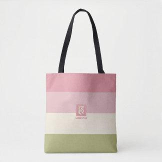 Cream Rose Green Color Palette Stripes Monogram Tote Bag