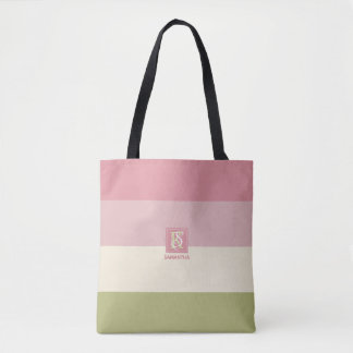 Cream Rose Green Color Palette Stripes Monogram Tote Bag