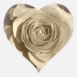 Cream Rose Heart Sticker