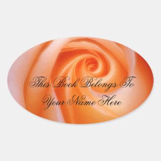 Cream Rose Library Oval Sticker