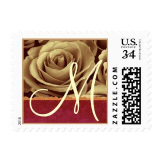 Cream Rose Red Damask Gold Lace Monogram Postage