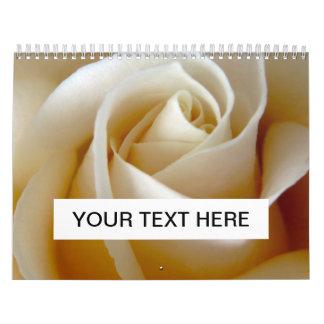Cream Rose Wedding Photo Wall Calendar