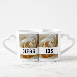 Cream Rose Wedding Photo Coffee Mug Set