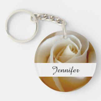 Cream Rose Wedding Photo Double-Sided Round Acrylic Keychain