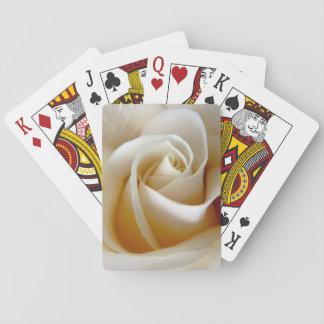 Cream Rose Wedding Photo Playing Cards