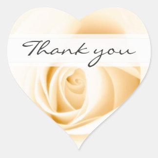 Cream rose wedding thank you thanks seal heart