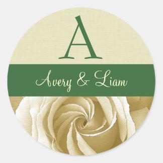 Cream Rose with Green Wedding Monogram Classic Round Sticker