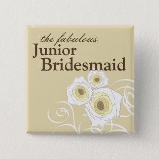 Cream Roses and Swirls Bridesmaid Wedding Button