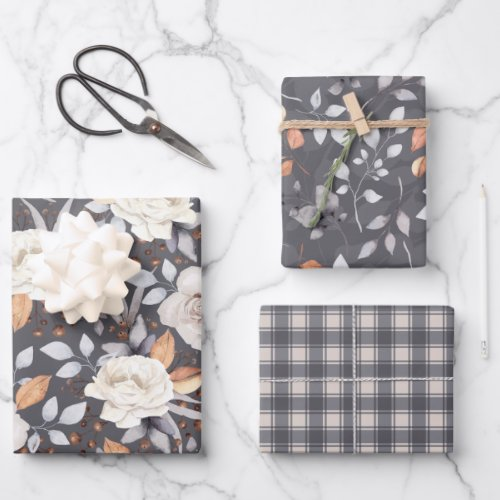 Cream Roses Autumn Fall Berries Floral Grey Mix Wrapping Paper Sheets