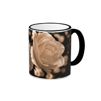 Cream roses ringer coffee mug