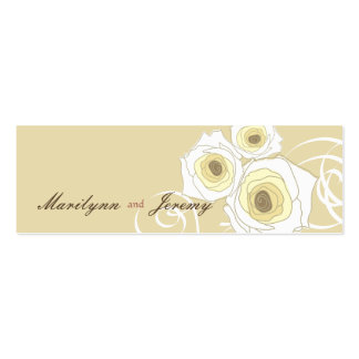 Cream Roses & Swirls *01 Custom Thank You Gift Tag Double-Sided Mini Business Cards (Pack Of 20)