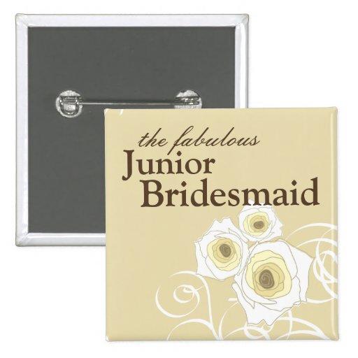 Cream Roses & Swirls *01 Junior Bridesmaid Button