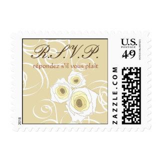 Cream Roses & Swirls *01 RSVP Wedding Stamps /