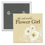 Cream Roses & Swirls Flower Girl Wedding Button