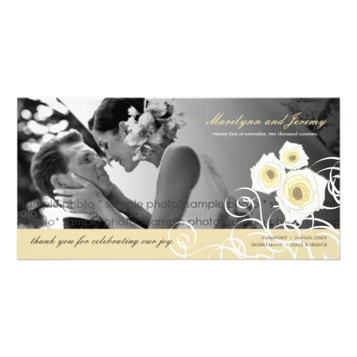Cream Roses Swirls Wedding Thank You Photo Card Photo Card