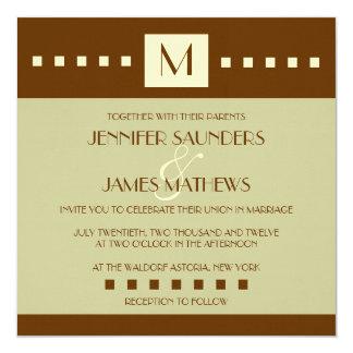 "Cream Sage Brown Monogram Wedding Invitation 5.25"" Square Invitation Card"
