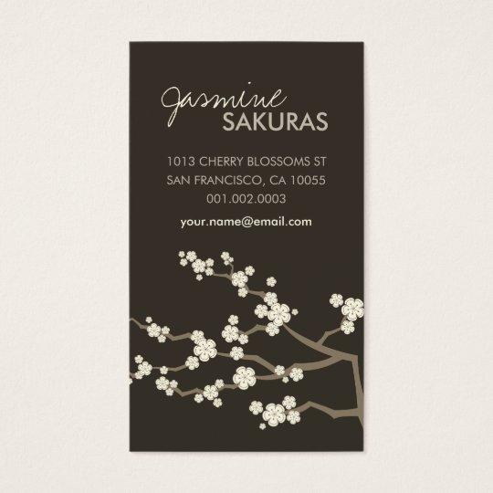 Cream Sakuras Cherry Blossoms Oriental Zen Asian Business Card
