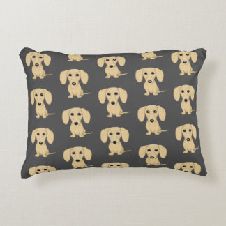 Cream Short Haired Dachshund Pattern Accent Pillow