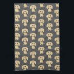 """Cream Short Haired Dachshund Pattern Hand Towel<br><div class=""""desc"""">Wiener Dog Lover&#39;s Kitchen Towel</div>"""