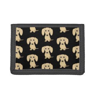 Cream Short Haired Dachshund Pattern Trifold Wallet