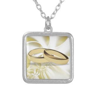 Cream Silk Effect Wedding Rings Square Pendant Necklace