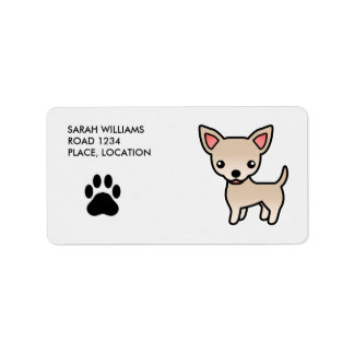 Cream Smooth Coat Chihuahua Cartoon Dog Label