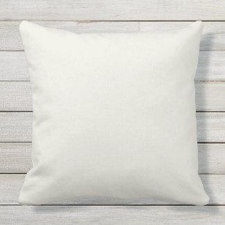 Cream Solid Color Outdoor Throw Pillow 20x20
