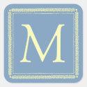 Cream Square Wreath on Little Boy Blue Monogram Square Sticker