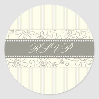 Cream Stripes Floral RSVP Envelope Seals Classic Round Sticker