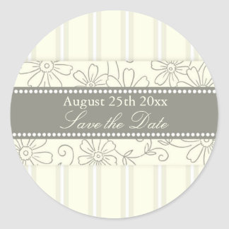 Cream Stripes Floral Save the Date Envelope Seal Classic Round Sticker