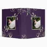 Cream Swirls, Plum Wedding Binder Photo