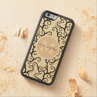 Cream Swirly Vines Background Monogram Carved® Maple iPhone 6 Bumper