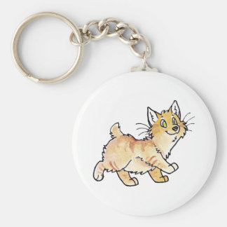 Cream Tabby Manx Kitty Basic Round Button Keychain
